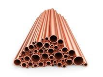 Tubos de cobre Imagen de archivo libre de regalías