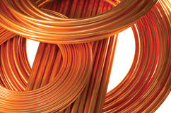 Tubos de cobre aislados en blanco Imagen de archivo libre de regalías