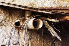 Tubos de drenaje viejos Fotos de archivo libres de regalías
