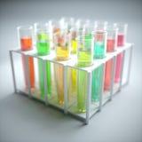 Tubos de ensaio coloridos líquidos Fotos de Stock Royalty Free