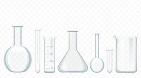 Tubos de ensaio de vidro do vetor isolados no branco Equipamento dos produtos vidreiros de laboratório ilustração royalty free