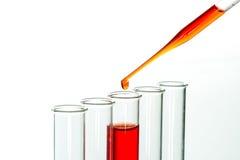 Tubos de ensaio e gota da pipeta, produtos vidreiros de laboratório Fotografia de Stock Royalty Free