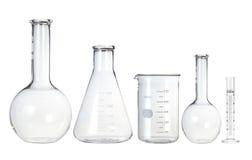 Tubos de ensaio isolados no branco. Produtos vidreiros de laboratório Foto de Stock Royalty Free