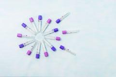 Tubos de ensaio para o diagnóstico do laboratório, para análises de sangue Imagem de Stock Royalty Free