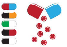 Tubos de ensaio químicos e vetor da ilustração dos ícones dos comprimidos Fotografia de Stock