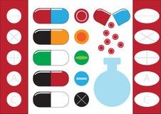 Tubos de ensaio químicos e vetor da ilustração dos ícones dos comprimidos Fotografia de Stock Royalty Free