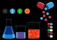 Tubos de ensaio químicos e vetor da ilustração dos ícones dos comprimidos Imagens de Stock Royalty Free