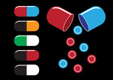 Tubos de ensaio químicos e vetor da ilustração dos ícones dos comprimidos Fotos de Stock Royalty Free