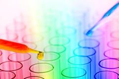 Tubos de ensayo coloridos del laboratorio de ciencia Imágenes de archivo libres de regalías