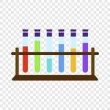 Tubos de ensayo en el icono del soporte, estilo plano stock de ilustración