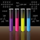 Tubos de ensayo fijados fórmulas Vector de la ciencia y de la educación Fotos de archivo libres de regalías