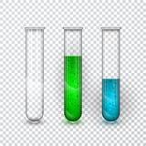 Tubos de ensayo, frasco transparente del laboratorio químico con el líquido Ilustración del vector libre illustration