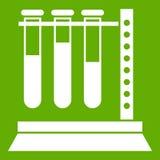Tubos de exame médico no verde do ícone do suporte Fotos de Stock