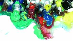 Tubos de la pintura acrílica almacen de video