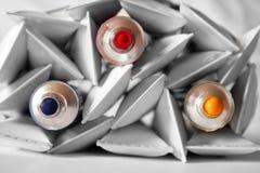 Tubos de la pintura - colores primarios Imagen de archivo