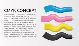 Tubos de la pintura del color de CMYK Concepto de la bandera de los anuncios Ilustración del vector Imagen de archivo libre de regalías