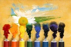 Tubos de la pintura y de la manzanilla Fotografía de archivo libre de regalías