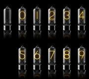 Tubos de Nixie com os dígitos isolados no preto rendição 3d Imagem de Stock Royalty Free