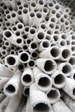 Tubos de papel industriales. Foto de archivo