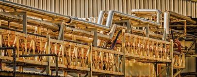Tubos de petróleo y gas de oro fotos de archivo