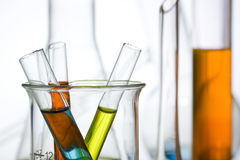 Tubos de prueba de la ciencia y de la investigación médica Fotos de archivo
