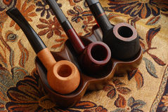 Tubos de tabaco tallados de la vieja mano Imagen de archivo libre de regalías