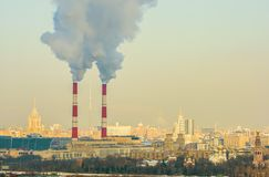 Tubos industriales en Moscú Imagen de archivo libre de regalías