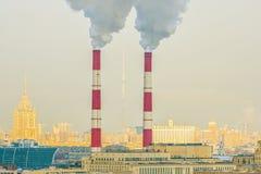 Tubos industriales en Moscú Foto de archivo libre de regalías