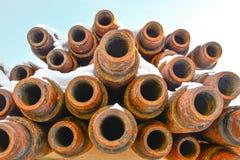 Tubos para los pozos del petróleo y gas de la perforación Imágenes de archivo libres de regalías