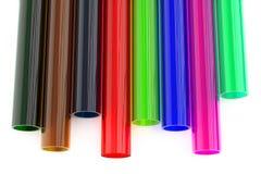 Tubos plásticos de acrílico coloreados Foto de archivo libre de regalías