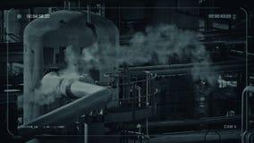 Tubos que fuman en la instalación industrial stock de ilustración
