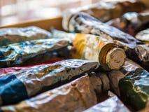 Tubos usados da pintura de óleo Imagens de Stock