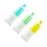Tubos vacíos de la crema dental o de la crema mofa del paquete para arriba Imagen de archivo