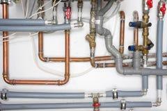 Tubos y sistema de calefacción Imagen de archivo libre de regalías