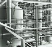 Tubos y sistema de ventilación dentro de un edificio industrial stock de ilustración