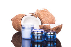 Tubs containing coconut oil are used as moisturizer for skin Royalty Free Stock Photo