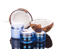 Tubs containing coconut oil are used as moisturizer for skin Royalty Free Stock Image