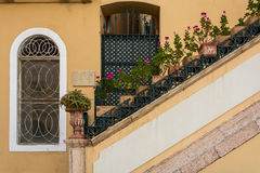 Tubs in staircase, Corfu island, Greece Stock Images