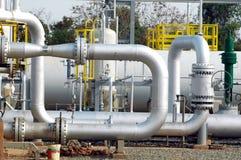 Tubulação da refinaria do gás Foto de Stock Royalty Free