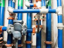 Tubulação de água, molhar limpo e águas residuais no constr da construção Fotografia de Stock Royalty Free