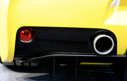 Tubulação de exaustão de Ferrari amarelo Fotografia de Stock
