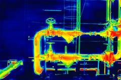 Tubulação industrial do thermography foto de stock royalty free