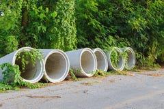 Tubulações concretas da drenagem Foto de Stock Royalty Free