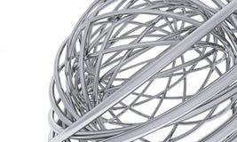 Tubulações curvadas do cromo em um fundo branco Imagem de Stock