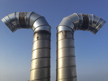 Tubulações de aço curvadas fotografia de stock royalty free