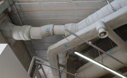 Tubulações de aço industriais da ventilação Foto de Stock Royalty Free