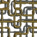 Tubulações de cruzamento do metal isoladas no branco Fotografia de Stock Royalty Free