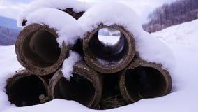 Tubulações de dreno velhas do cimento Fotos de Stock Royalty Free