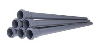 Tubulações de esgoto cinzentas do PVC Fotografia de Stock Royalty Free