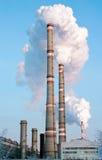 Tubulações de fumo da fábrica Foto de Stock Royalty Free